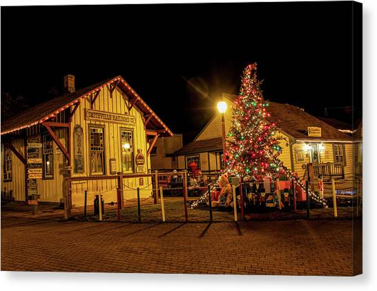 Canvas Print featuring the photograph Smithville Railroad Christmas Tree by Kristia Adams