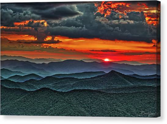 Canvas Print featuring the photograph Smoky Mountain Sunset And Storm by David A Lane