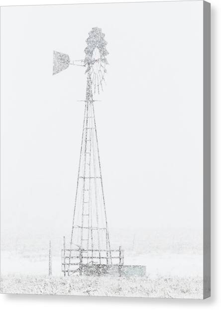 Canvas Print featuring the photograph Snow And Windmill 04 by Rob Graham