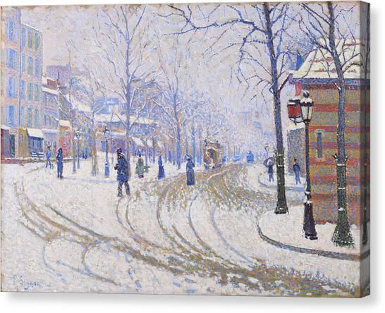 Signac Canvas Print - Snow, Boulevard De Clichy, Paris - Digital Remastered Edition by Paul Signac