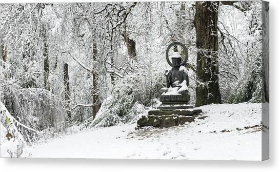 Snow Buddha Batsford Arboretum Canvas Print by Tim Gainey