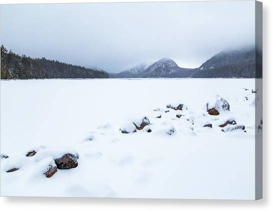 Snow Cover Jordan Pond Canvas Print