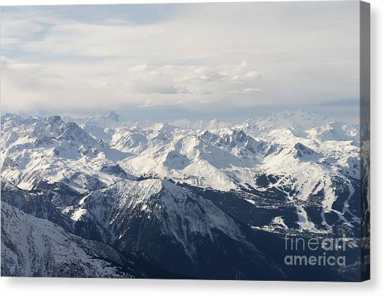 Mountain Climbing Canvas Print - Snow Covered Alps Mountains Aerial View by Ivan Aleshin