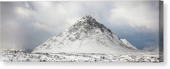 Canvas Print featuring the photograph Snow Covered Mountain - Glencoe by Grant Glendinning