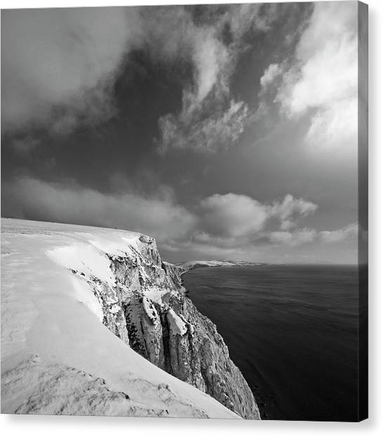 Freshwater Canvas Print - Snow On Highdown, Freshwater, Isle Of by S0ulsurfing - Jason Swain
