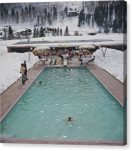 Snow Round The Pool Canvas Print
