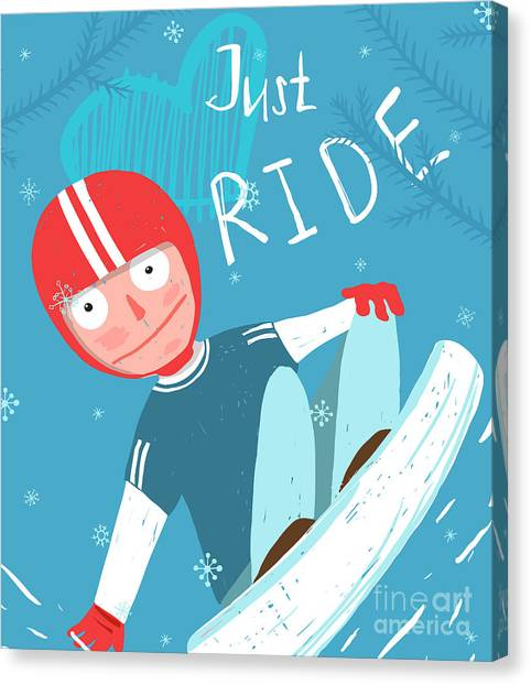 Winter Fun Canvas Print - Snowboard Funny Free Rider In Helmet by Popmarleo
