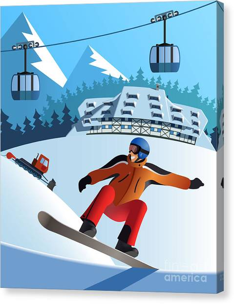 Fun Run Canvas Print - Snowboard Winter Resort by Nikola Knezevic