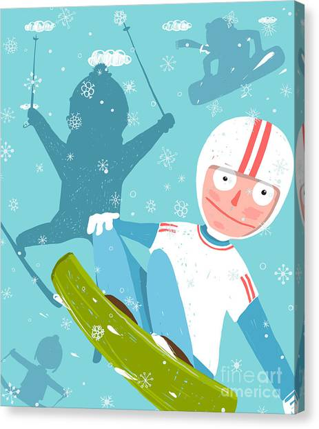 Winter Fun Canvas Print - Snowboarding And Skiing Funny Free by Popmarleo