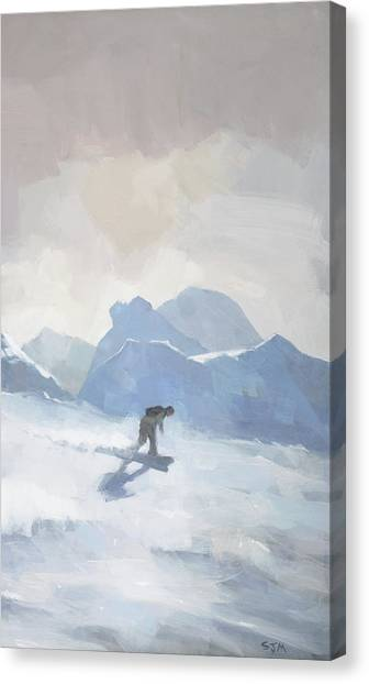 Canvas Print featuring the painting Snowboarding At Les Arcs by Steve Mitchell