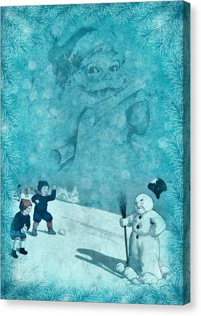 Snowball Canvas Print - Snowman Snowball Fight by ArtMarketJapan