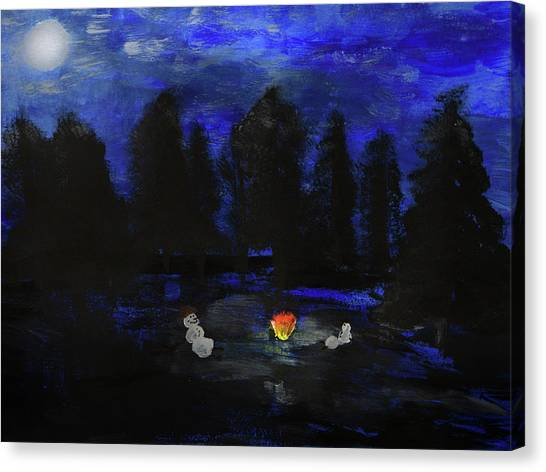 Snowmen Enjoy The Campfire  Canvas Print