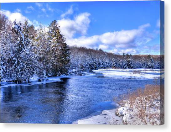 Canvas Print featuring the photograph Snowy Banks Of The Moose River by David Patterson