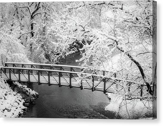 Snowy Bridge On Mill Creek Canvas Print