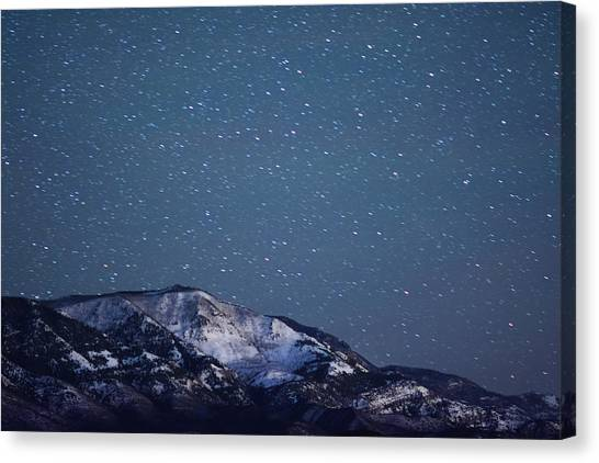 Snowy Mountain At Night Canvas Print by Harpazo hope
