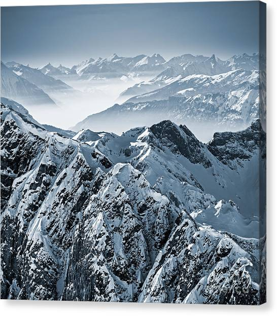 No-one Canvas Print - Snowy Mountains In The Swiss Alps. View by Antonio Jorge Nunes