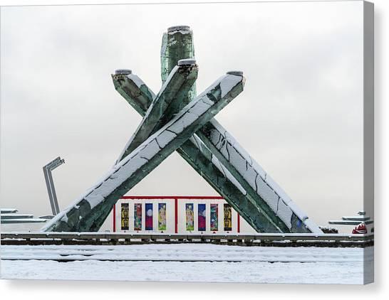 Snowy Olympic Cauldron Canvas Print