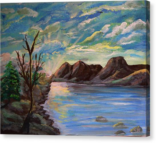 Canvas Print featuring the painting Snowy Range And Lookout Lake by Chance Kafka