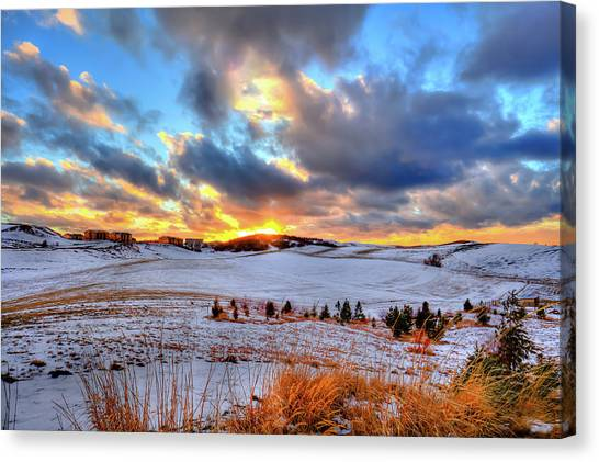 Canvas Print featuring the photograph Snowy Sunset by David Patterson