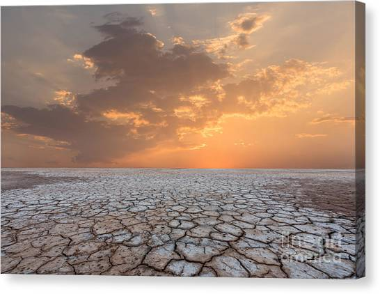 Clay Canvas Print - Soil Drought Cracked Landscape Sunset by Philipyb Studio