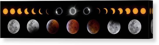 Solar And Lunar Eclipse Progression Canvas Print by Dennis Sprinkle