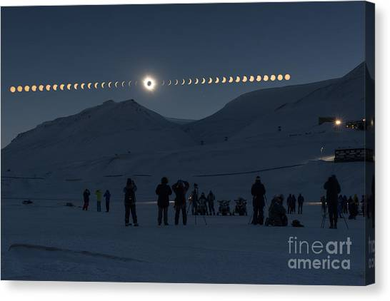 20th Canvas Print - Solar Eclipse Sequence In Svalbard On by Thanakrit Santikunaporn