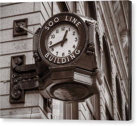 Marquette University Canvas Print - Soo Line Building Clock by Jim Hughes
