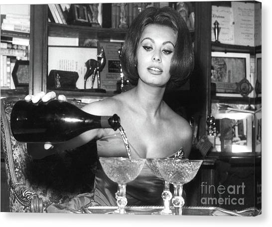 Coupe Canvas Print - Sophia Loren, Coupe Champagne Glasses by Thomas Pollart