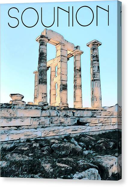 A Sunny Day In Sounion Canvas Print