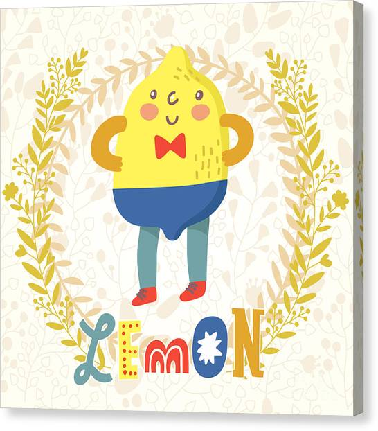 Fitness Canvas Print - Sour Lemon In Funny Cartoon Style by Smilewithjul