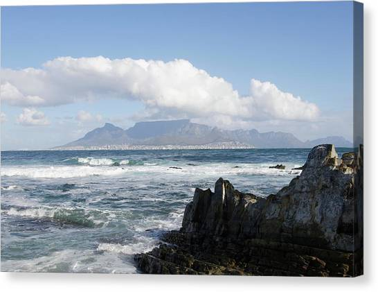 South Africa, Robben Island, View To Canvas Print by Tony Souter
