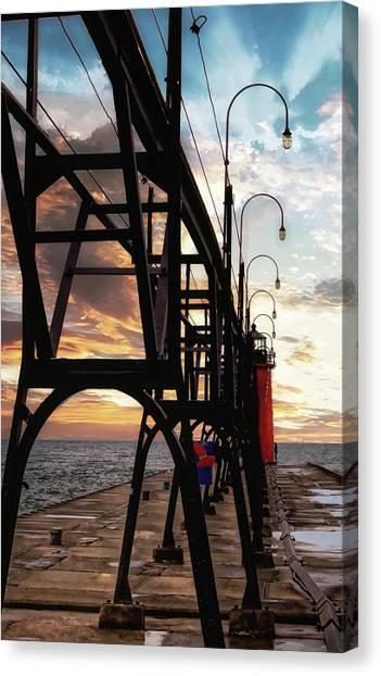 Canvas Print featuring the photograph South Haven Pier Sunset by Lars Lentz