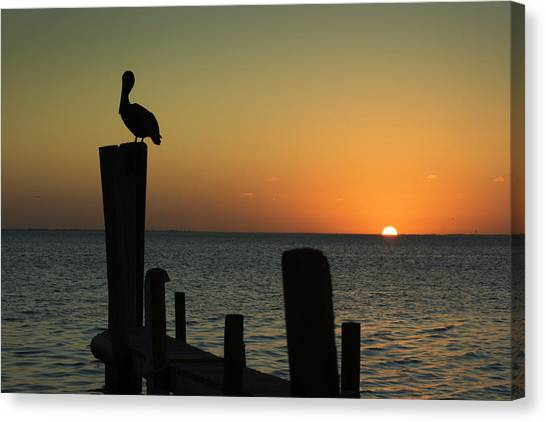 South Padre Island, Texas Sunset With Canvas Print