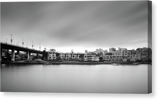 Canvas Print featuring the photograph Venice Court, Vancouver Bc, Canada by Juan Contreras