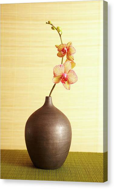 Spa Still Life Of Orchid Flower In Vase Canvas Print