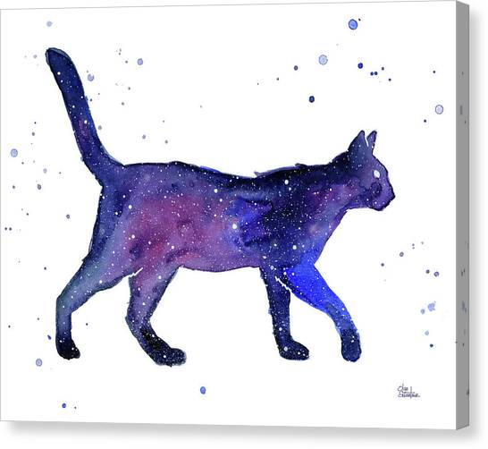 Celestial Canvas Print - Space Cat by Olga Shvartsur
