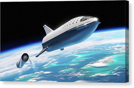 Canvas Print featuring the digital art Spacex Bfr Big Falcon Rocket With Earth by Pic by SpaceX Edit by M Hauser