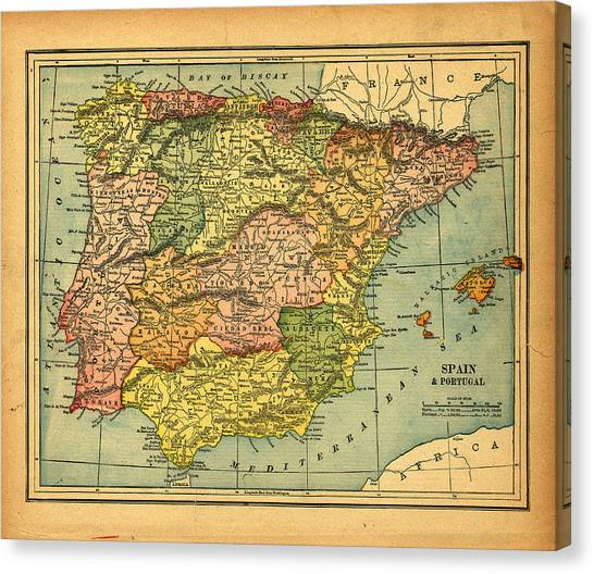Spain & Portugal Vintage Map Canvas Print