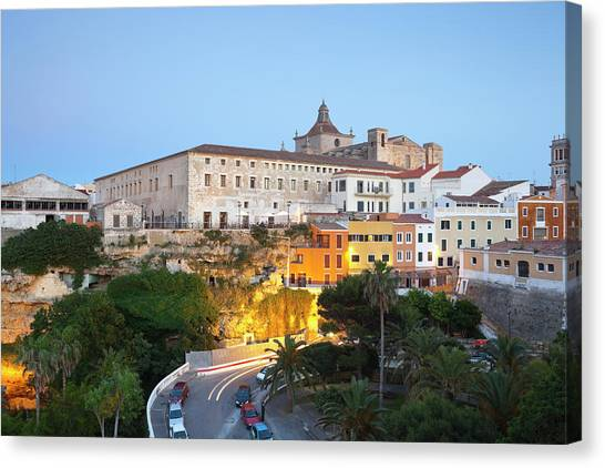 Spain, Menorca, Mahon, View Of Old Town Canvas Print by Westend61