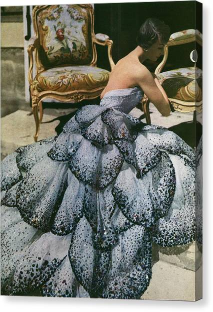 Spangled Christian Dior Evening Gown, 1949 Canvas Print by Horst P Horst