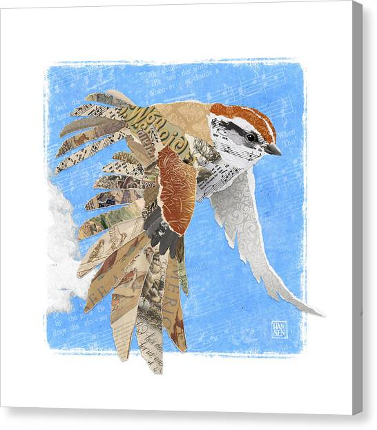 Canvas Print featuring the mixed media Sparrow by Clint Hansen