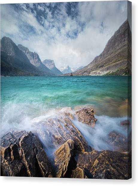 Canvas Print featuring the photograph Splash / St. Mary Lake, Glacier National Park  by Nicholas Parker
