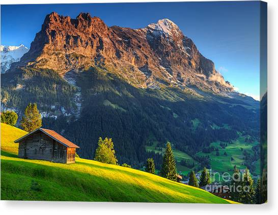 Mountain Climbing Canvas Print - Spectacular Swiss Alpine Landscape With by Gaspar Janos