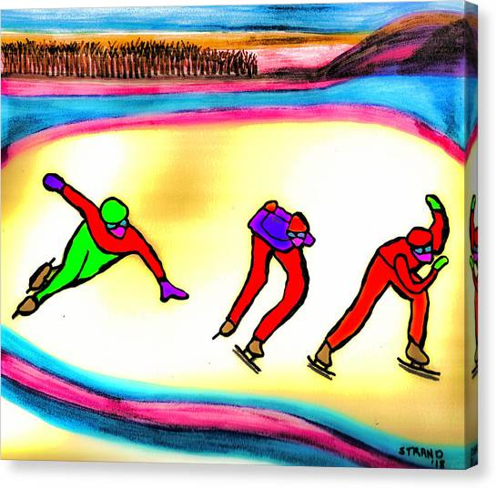 Speed Skating Canvas Print - Speed Skating Practice by Ronnie Strand