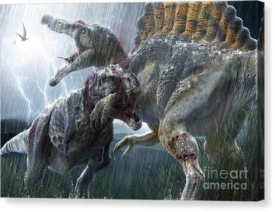 Powerful Canvas Print - Spinosaurus Vs Tyrannosaurus by Herschel Hoffmeyer