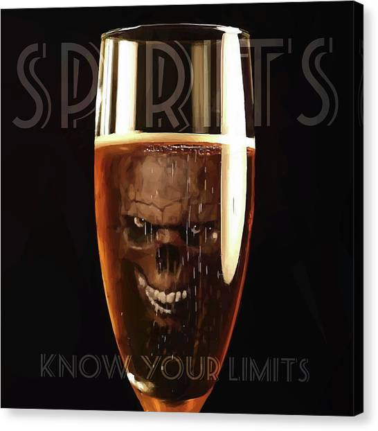 Canvas Print featuring the digital art Spirits - Know Your Limits by ISAW Company