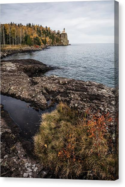 Canvas Print featuring the photograph Split Rock Lighthouse Rocky Shore by Whitney Leigh Carlson