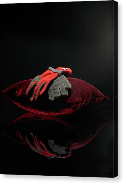 Sports Gloves On Velvet Cushion Canvas Print