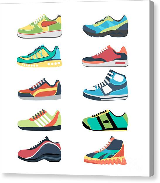 Sports Clothing Canvas Print - Sports Shoes Vector Set. Fashion by Mssa