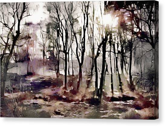 Canvas Print featuring the painting Spring Morning Mist by Susan Maxwell Schmidt